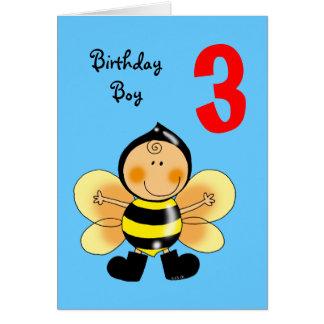 3 year old birthday boy greeting card