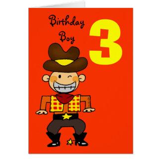 3 year old birthday boy greeting cards