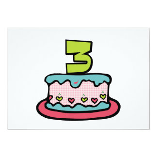 "3 Year Old Birthday Cake 5"" X 7"" Invitation Card"