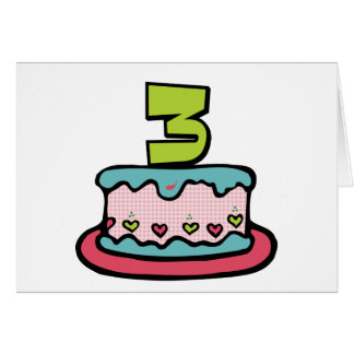 3 Year Old Birthday Cake Card