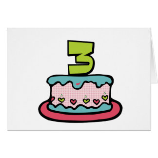 3 Year Old Birthday Cake Cards