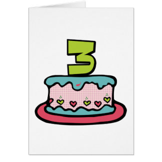 3 Year Old Birthday Cake Greeting Card