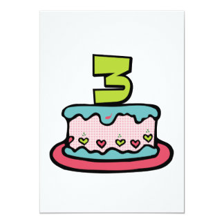 3 Year Old Birthday Cake Personalized Announcement