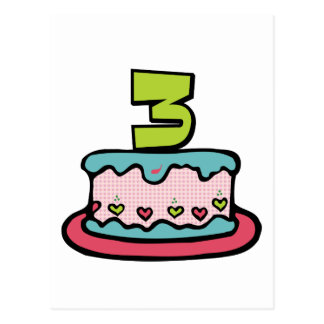 3 Year Old Birthday Cake Post Card