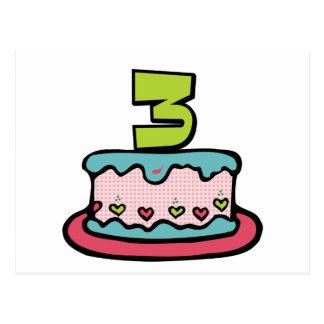 3 Year Old Birthday Cake Postcard