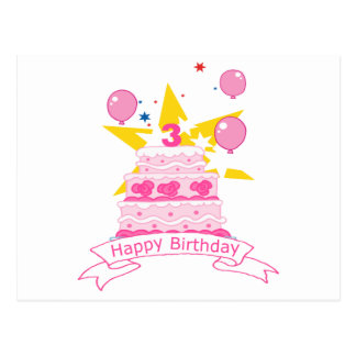 3 Year Old Birthday Cake Postcard