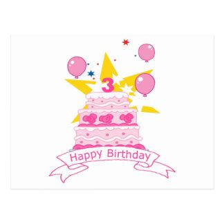 3 Year Old Birthday Cake Postcards