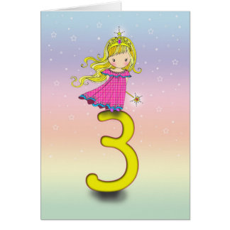 3 Year Old Birthday Card Little Princess