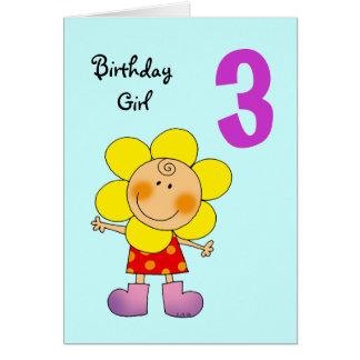 3 year old birthday girl greeting cards