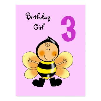 3 year old birthday girl postcards