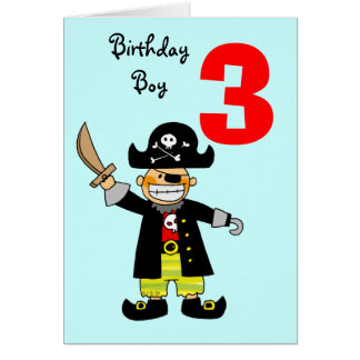 3 year old pirate boy card