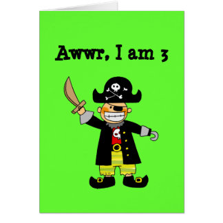 3 year old pirate boy greeting card