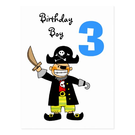 3 year old pirate boy post card