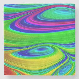 3D abstract art pattern stone coaster rainbow