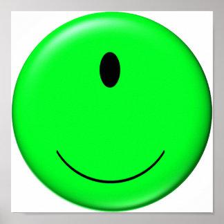 3D Alien Smiley Poster