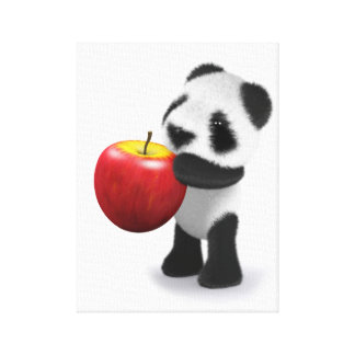 3d Baby Panda Apple Canvas Print