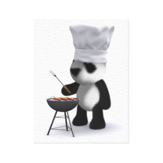 3d Baby Panda Barbecue Canvas Print