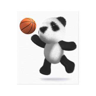 3d Baby Panda Basketball Canvas Print