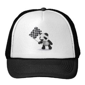 3d Baby Panda Checkered Flag Mesh Hat