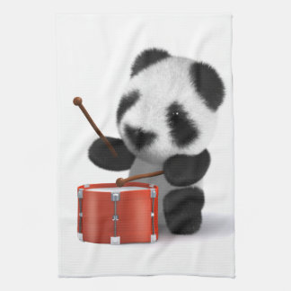 3d Baby Panda Drummer Kitchen Towel