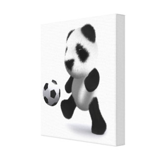 3d Baby Panda Football Canvas Print