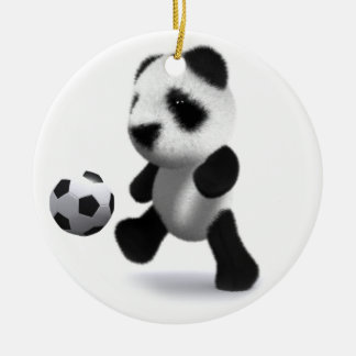 3d Baby Panda Football Ceramic Ornament
