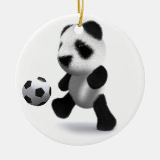 3d Baby Panda Football Round Ceramic Ornament