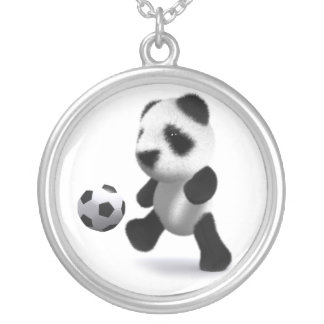 3d Baby Panda Football Silver Plated Necklace