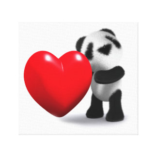 3d Baby Panda Heart Canvas Print