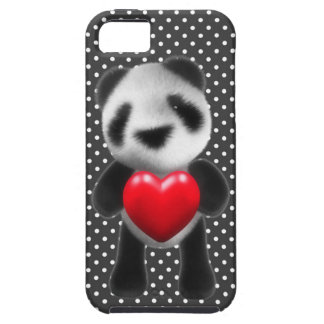 3d Baby Panda Hugs a Heart (editable) iPhone 5 Cover