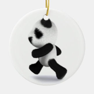 3d Baby Panda Jogger Round Ceramic Ornament