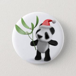 3d Baby Panda Mistletoe 2 Inch Round Button