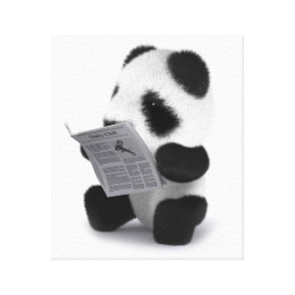3d Baby Panda Newspaper Canvas Print