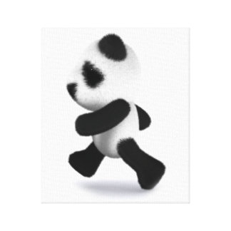 3d Baby Panda Running Canvas Print