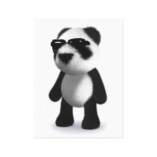 3d Baby Panda Sunglasses Canvas Print
