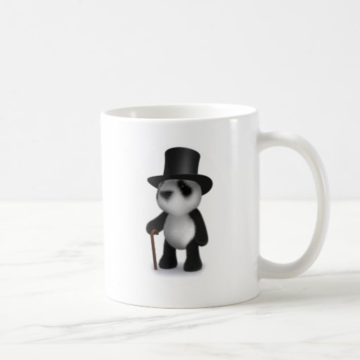 3d Baby Panda Top Hat Coffee Mugs