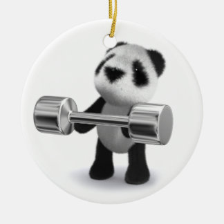 3d Baby Panda Weightlifter Ceramic Ornament