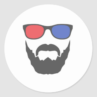 3D beard Classic Round Sticker