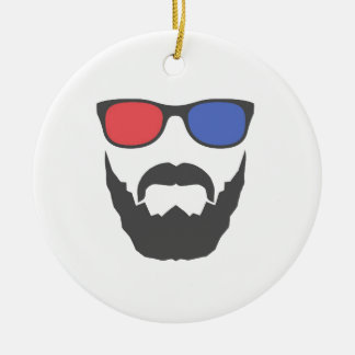 3D beard Round Ceramic Ornament