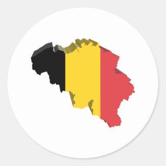 3D Belgium Classic Round Sticker