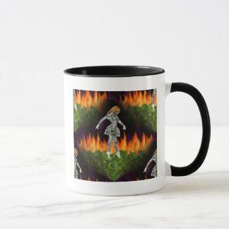 3D Biomechannequin Seamless Fire & Candycorn Mug