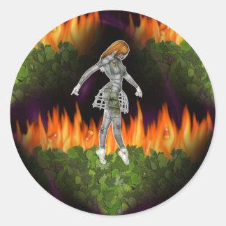 3D Biomechannequin Seamless Fire & Candycorn Round Sticker