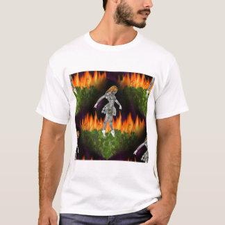 3D Biomechannequin Seamless Fire & Candycorn T-Shirt