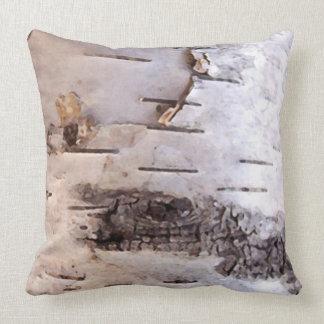 3D Birch Bark Throw Pillow