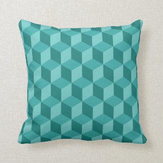 3D Blue Geometric Cube Pattern Throw Pillow