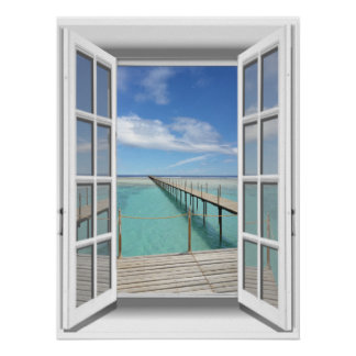 3D Boardwalk Ocean View Fake Window Poster
