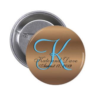 3d Bronze Monogram 2 Inch Round Button