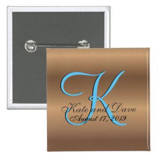 3d Bronze Monogram Pinback Button