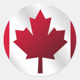 3D Canada Flag Round Sticker