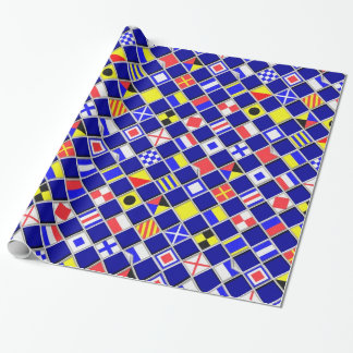3D Checkered Nautical Flags Signals Pattern Wrapping Paper